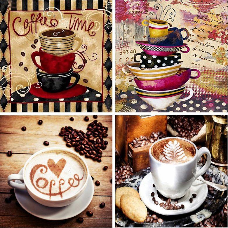 """5D DIY diamante pintura """"Amor café, tempo café, copo"""" bordado do bordado Cruz Presentes Ponto Home Decor parede para sala"""