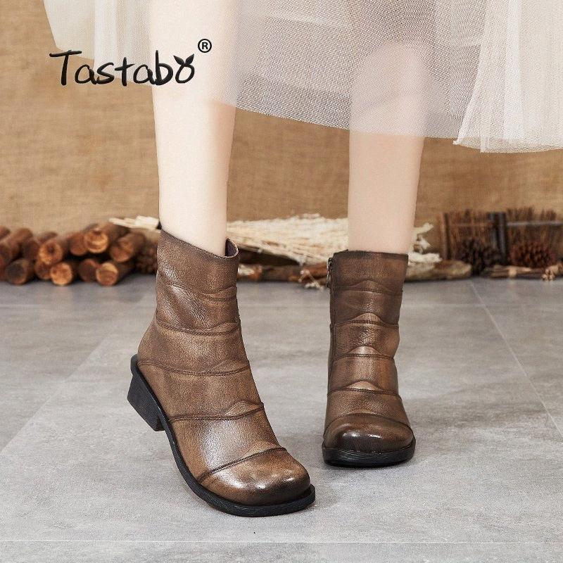 Tastabo En cuir véritable femme Bottines Bottines Khaki Noir S88208 Low Talon Daily Womens Bottes Style Confortable Fond Soft O44V #