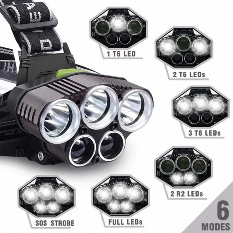 6 Modo de carregamento USB noite ao ar livre Pesca 5LED Brilho Farol 6 Modo de iluminação fáceis de operar para Camping Caminhadas 3IHg #
