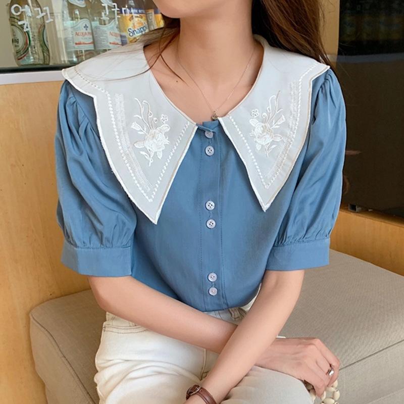 nuevo verano dulce estilo fpzeW manga floja de Corea del bordado de flores muñeca muñeca cuello de la camisa de la burbuja camisa de gasa 2020 costura para las mujeres