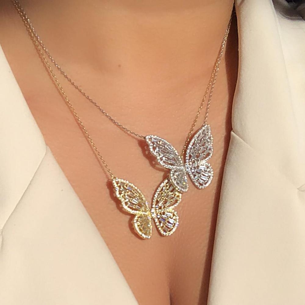 Baget beyaz pembe kübik zirkon Güzel kelebek kolye kolye moda kadın takı bling dışarı buzlu