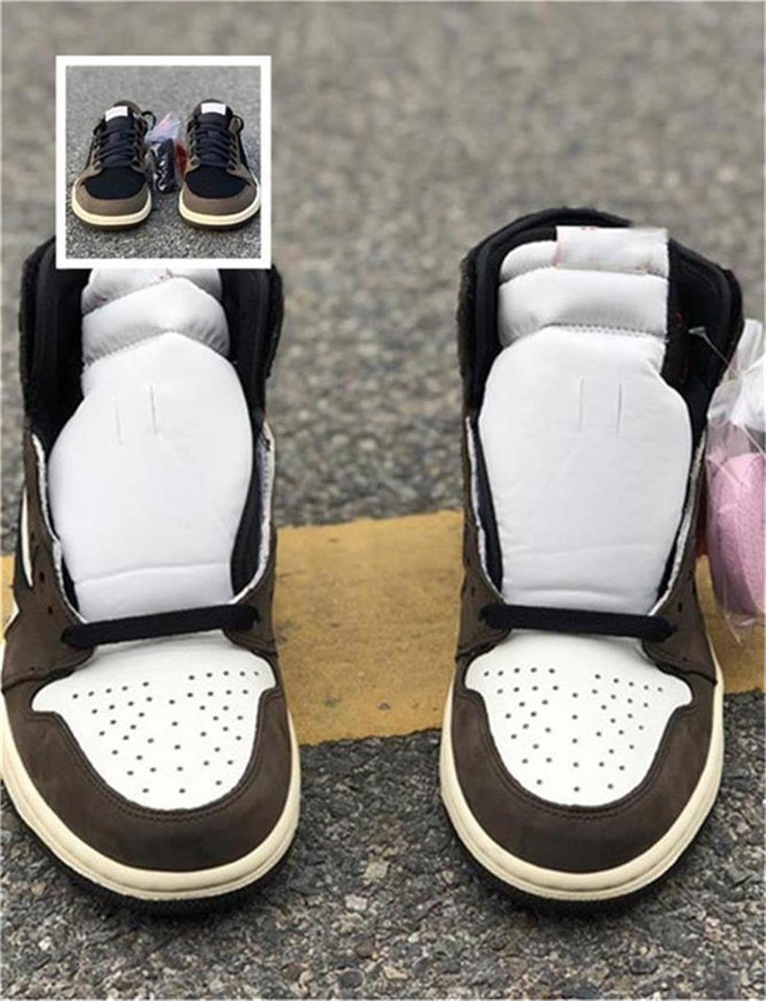 Con caja Travis High y Low OG TS SP 1 Casual Jack Suede Sail Black Dark Mocha University 1 Zapatos conjuntos de punta