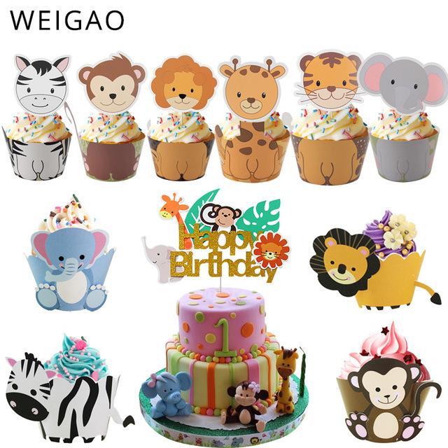 tas décoration de gâteau fournitures Weigao Safari Jungle Party Animal Cupcake Wrapper forme de gâteau de fête d'anniversaire gâteaux décoration enfants bébé co ...