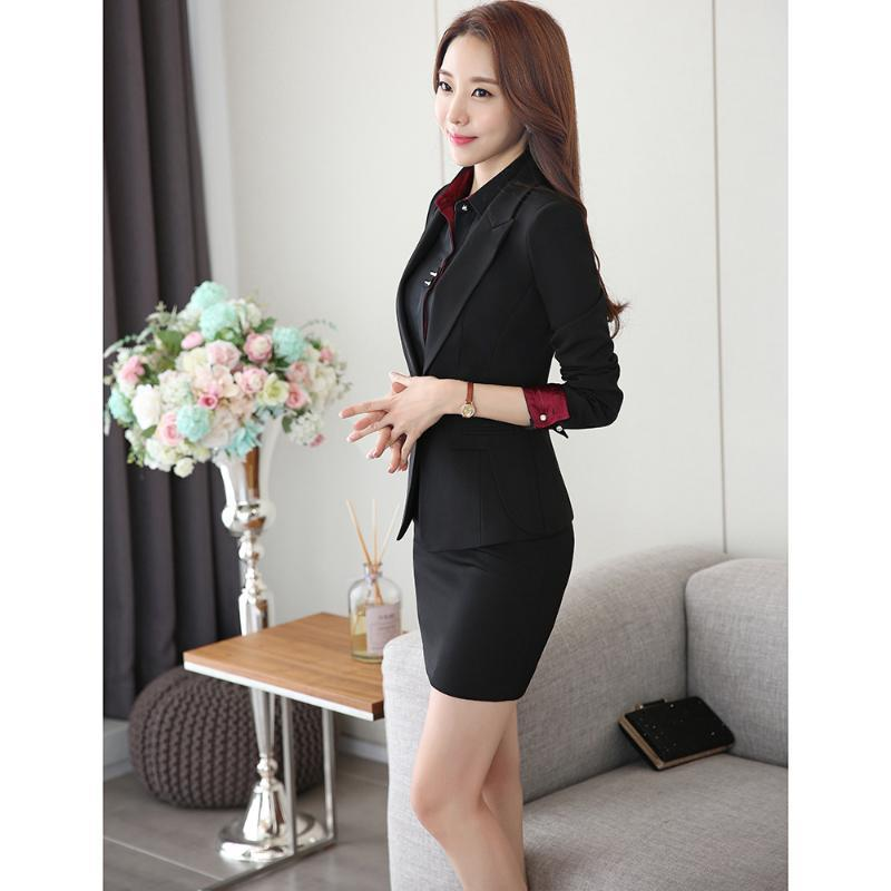 New Office Uniform Designs Women Skirt Suit 2020 Costumes for Womens Business Suits Skirts with Blazer Black Plus size 4XL 5XL