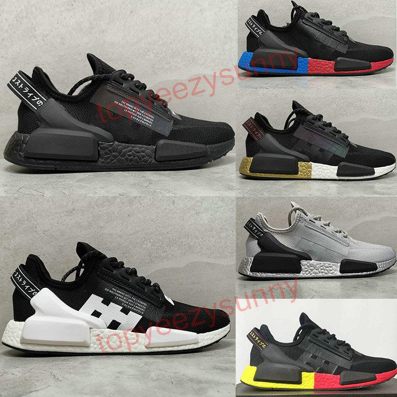 2020 NMD Runner R1 V2 Running Shoes عداء R1 V2 الثلاثي الأسود الأبيض المأخوذة على صعيدي النساء OREO المأخوذة على صعيدي عداء الرياضة أحذية رياضية EUR 36-45
