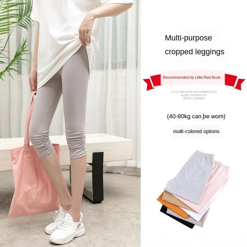 kmOa5 Eis-Silk Baumwolle-feste Fett dichte Frauenoberbekleidung dünner Sommer 20 neue große Frauen und Hosen plus große schlanke Taille Hosen Capri