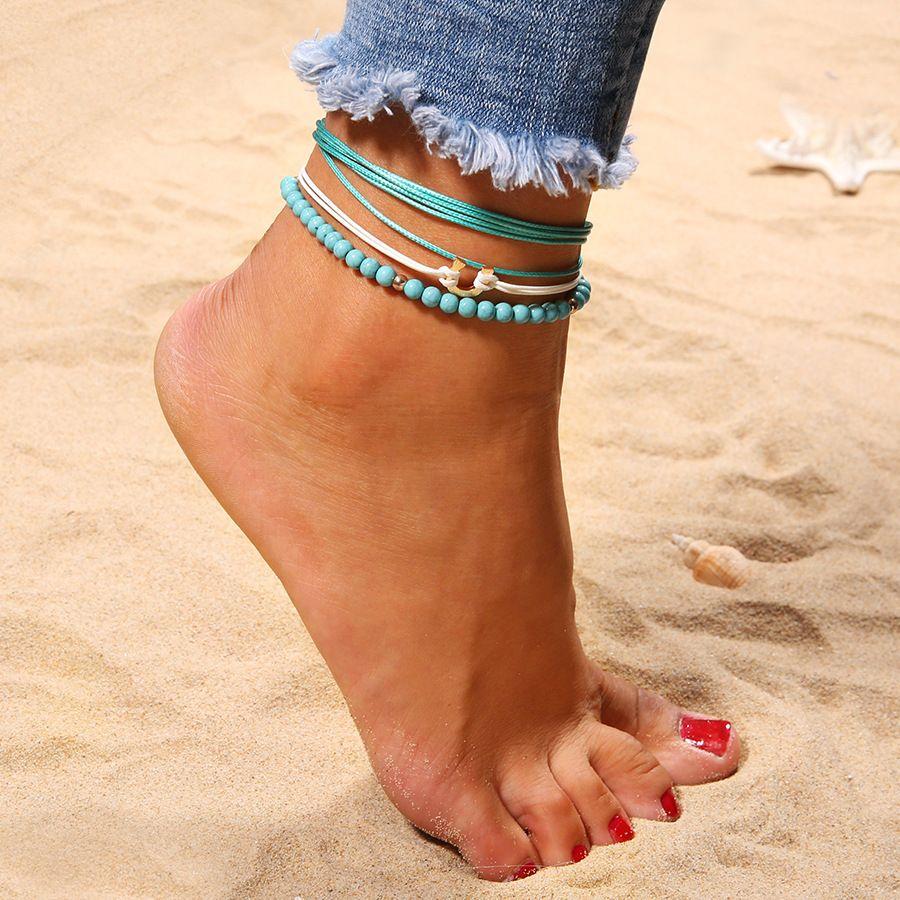 Azul Turquoises Beads pulseira tornozeleira na perna cor do ouro Shell Multilayer Tornozeleiras Para Mulheres Praia Pé Jóias