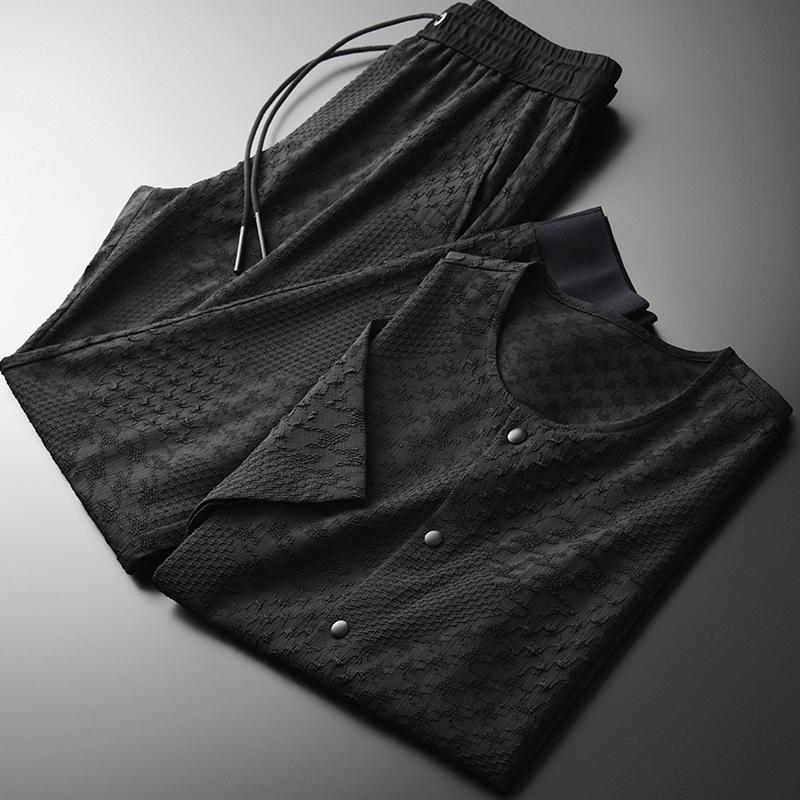 Minglu Летние мужские наборы (футболки + брюки) Пряжа окрашенная однобортный с коротким рукавом Человек наборы Плюс Размер 4XL Mens Slim Fit