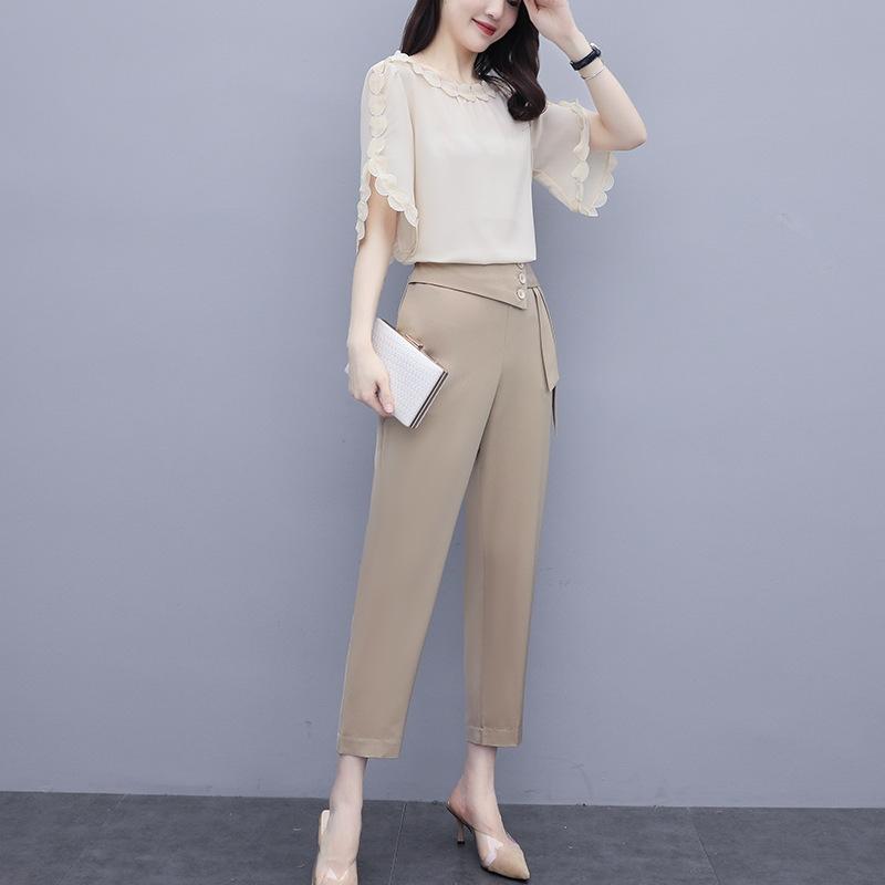 Мода костюм женщины в западном стиль молодого европейского отдыха светской одежды лето 2020 новых женские рубашки шифона рубашка 9io67