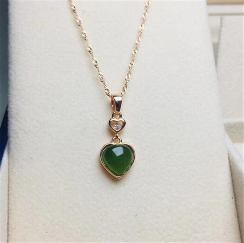 Verde naturale di Hetian forma di cuore scolpito Giada Collana cinese giadeite monili regalo fascino amuleto per regalo di natale Uomo Donna