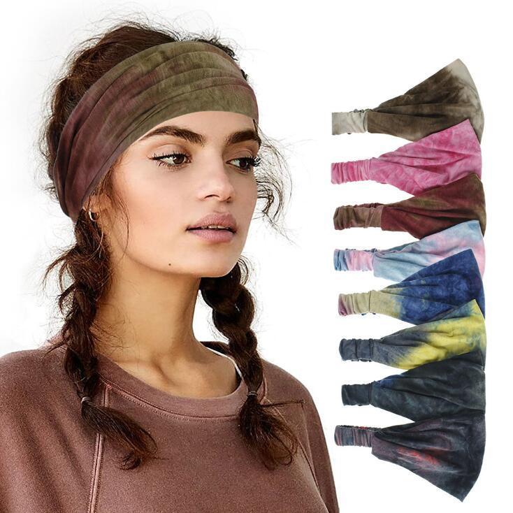 Yoga bandeau élastique Tie-dye large Bandana Fitness élastique Bandeaux pour les femmes midinettes Out Gym Turban headwraps For Sports OWF1012