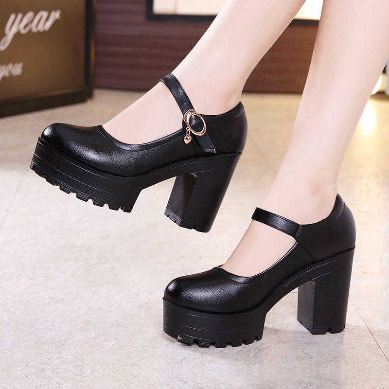 cabeza redonda plataforma impermeable 2020 zapatos modelo cheongsam pasarela grueso con zapatos de mujer para muffins con suela gruesa de la boca baja