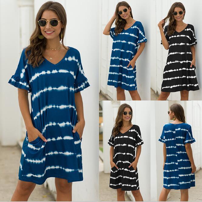 2020Women Сыпучие платье дамы мини Empire V-образным вырезом в полоску A-Line Черный Синий Повседневные платья