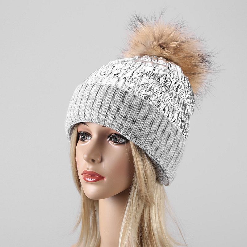 bas couture pare-brise chapeau Kitted femmes d'hiver femme chapeau tricot boule de fourrure de raton laveur chaud épaississement extérieur Bonnet Rose