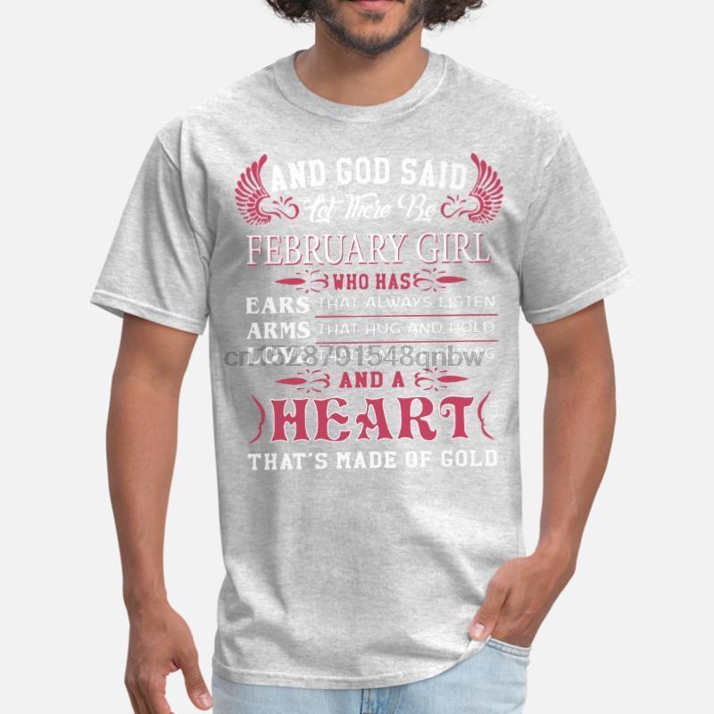 Anpassen Und Gott sprach: Es werde Mädchen Februar Wer Mens-T-Shirt Mädchen Jungen O Ansatz angepasstes T-Shirt Kurzarm Female Hip Hat