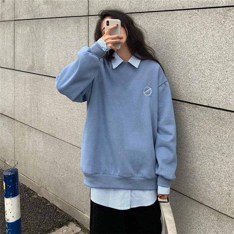 Casual vrac Lazy col rond Sweat-shirt Femme coréenne Kawaii Sweat-shirts femme japonaise Harajuku Ulzzang Vêtements pour femmes opnr #