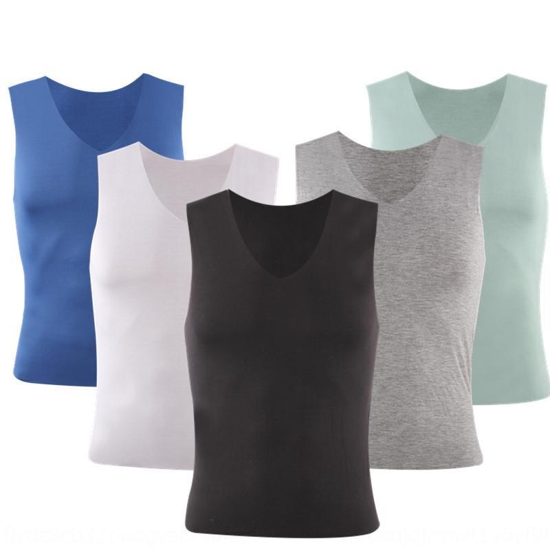 vMwiy мужские рубашки мужские бесшовные тонкий жилет твердый модальный Ice Шелковый жилет 2020 летом стрейч цвет основы рубашки