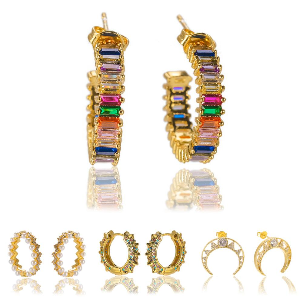 Isang Hot Selling Rainbow Color CZ Stone Hoop Earring 18K Gold High Quality Cubic Zirconia Diamond Stud Earring with Jewelry Box
