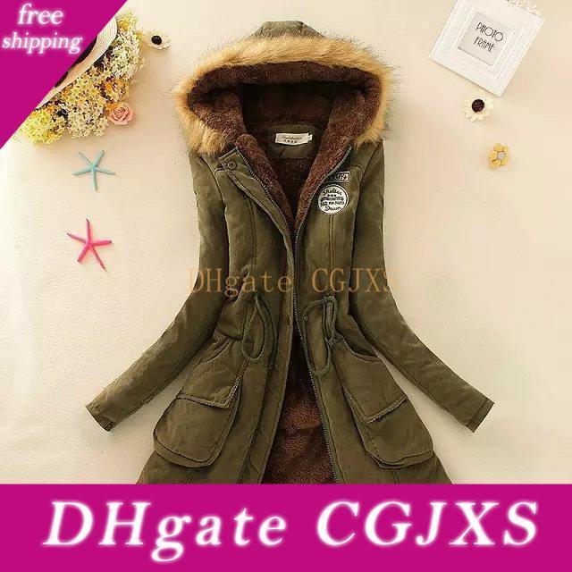 Womens Parka casuale Outwear Autunno Inverno militare con cappuccio inverno rivestimento delle donne dei cappotti di pelliccia delle donne '; S inverno giacche e cappotti