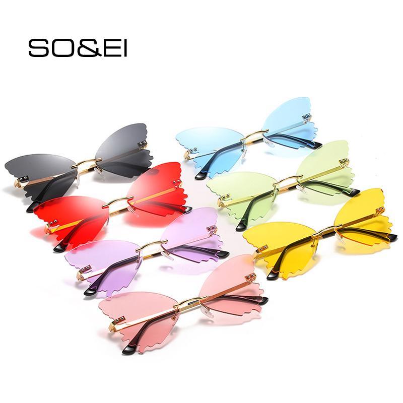 Gafas únicas sin llantas de rona gafas gafas de sol UV400 Soei Océano Océano Claro Mariposa Diseñador Forma Ladies Sun Marca Oculos Lens PSFSU