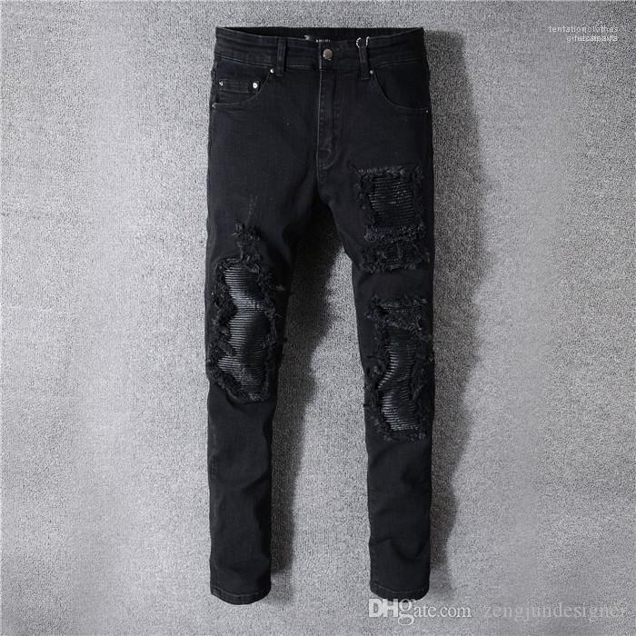 Moda Stile Homme Abbigliamento matita dei pantaloni casual Abbigliamento Uomo Nuovo stilista buco nero Jeans Button Pocket
