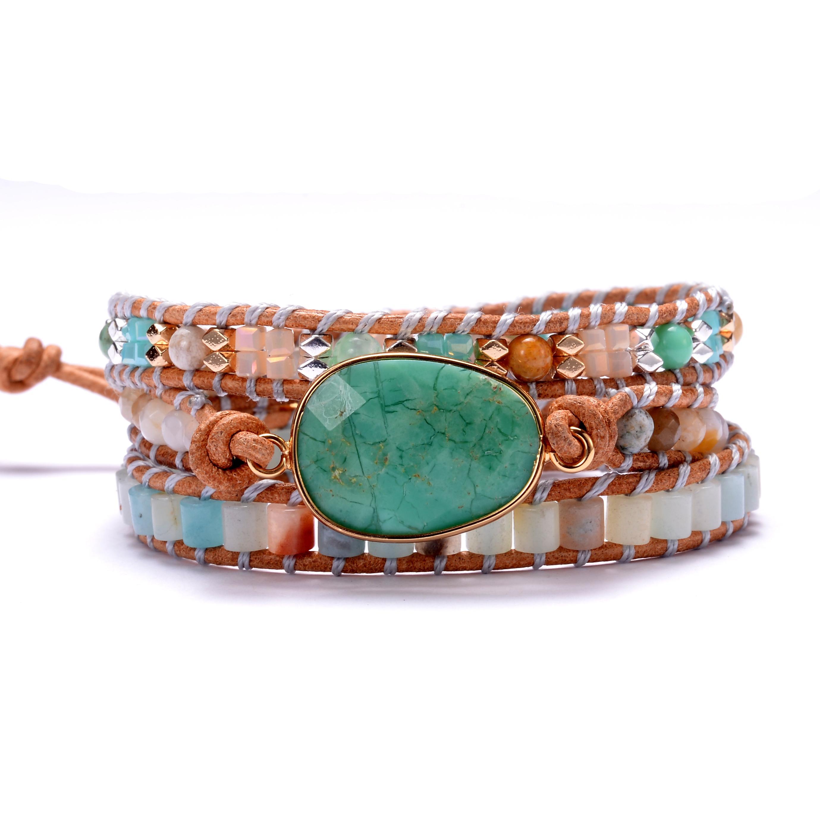 Pierre naturelle Amazonite Bracelets Wrap cristaux de perles Triple Bracelet Déclaration de haute qualité Bijoux Bohême