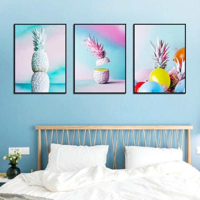 Décoration Ananas Couleur Art Peinture Simple Nordic Wind Salon Chambre fond Tenture Image Frameless