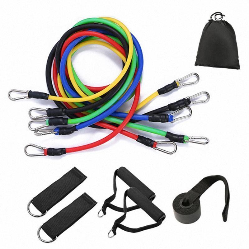 11pcs Latex-Widerstand-Bänder Set Crossfit Trainingskörperübungen Yoga Tubes Pull Rope-Kasten-Expander Pilates Fitness mit Tasche AZNk #