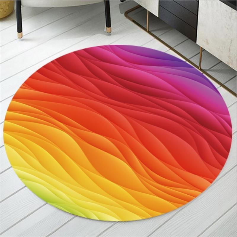 Bedroom Living Room Anti Slip Area Rugs Round Floor Mats Rainbow Print Polyester Carpet Play Mats for Kids Dropshipping Cartoon