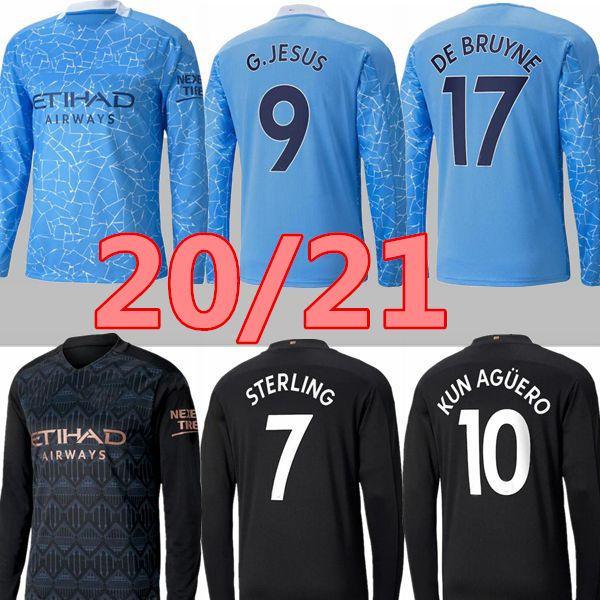 MANGA LARGA 20 21 STERLING De Bruyne KUN AGUERO fútbol Manchester City camiseta de fútbol 2020 2021 SANE la camisa de Jesús los hombres juegos de piezas de uniforme