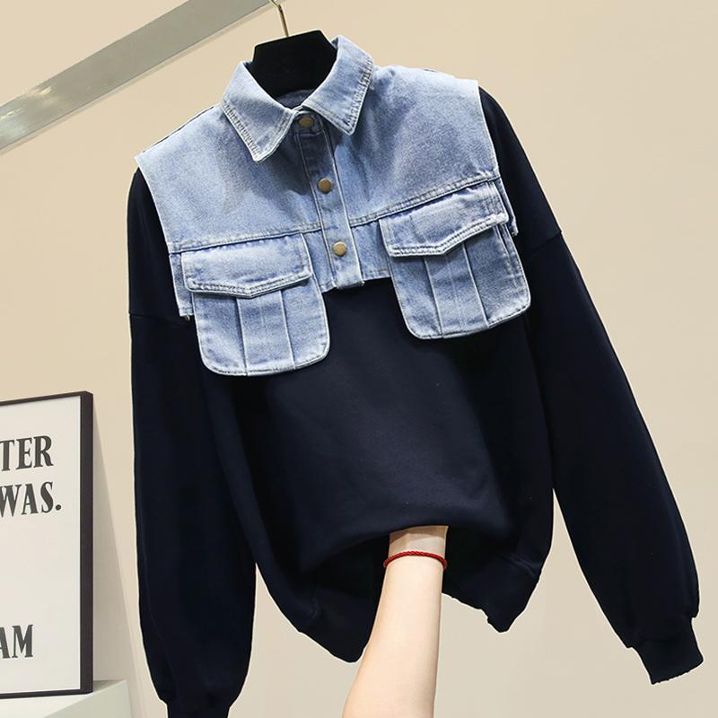 Frauen Hoodies 2020 neuer Frühling und Herbst drehen unten Kragen-Denim-Patchwork Faux zweiteilige Langarm-Studenten Sweatshirts zufällige Spitze