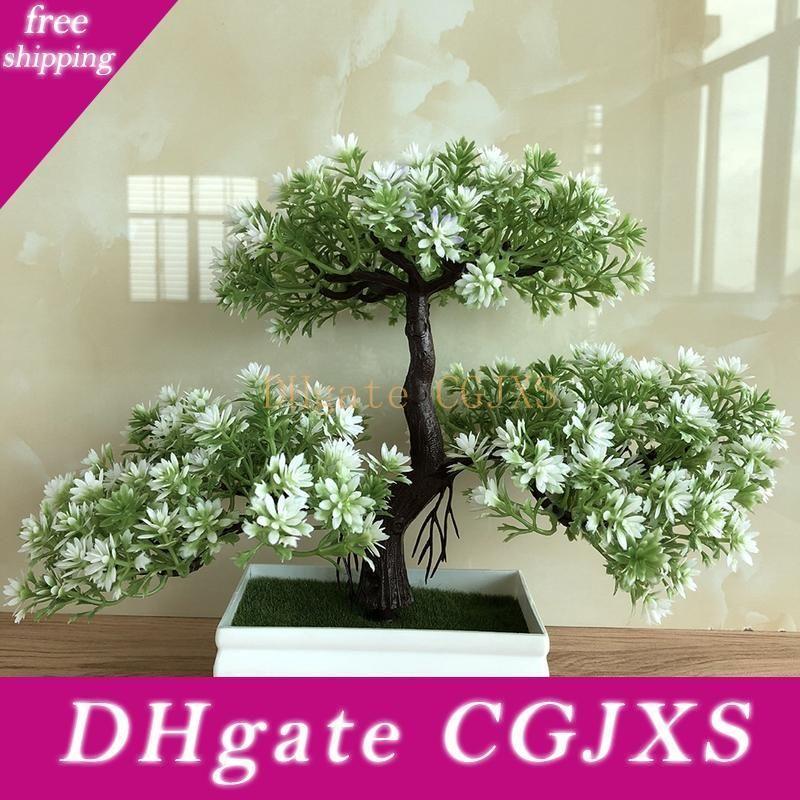 Flor de simulación Ganoderma árbol de Lotus del árbol de pino artificial de la planta Bonsai falso verde Plantas de macetas Adornos Decoración del arte