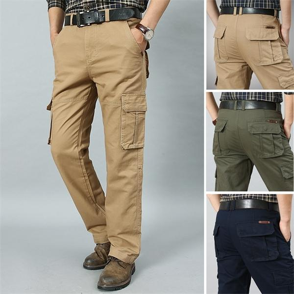 2020 New Cargo Pants Men Military Style Straight Trousers Mens Casual Cotton Multi-Pocket Pants Men Work Long Trouers Plus Size