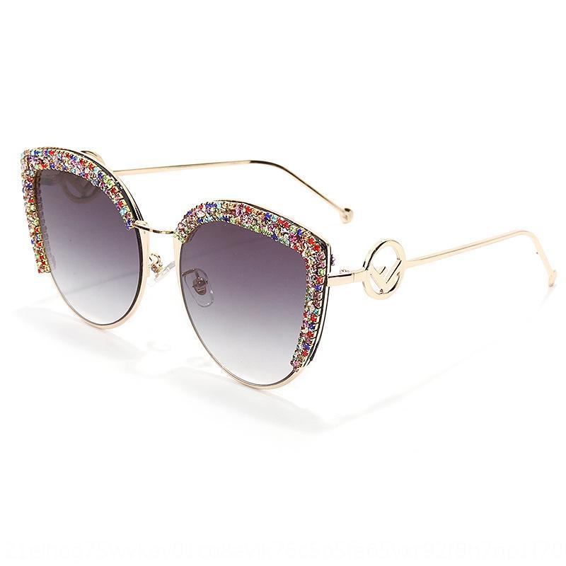 Neue trendige Diamanten besetzte glänzend Kies Buchstaben F handgemachte Spot Diamant Diamant-Brille Auge Sonne Frauen Katze modische Brille