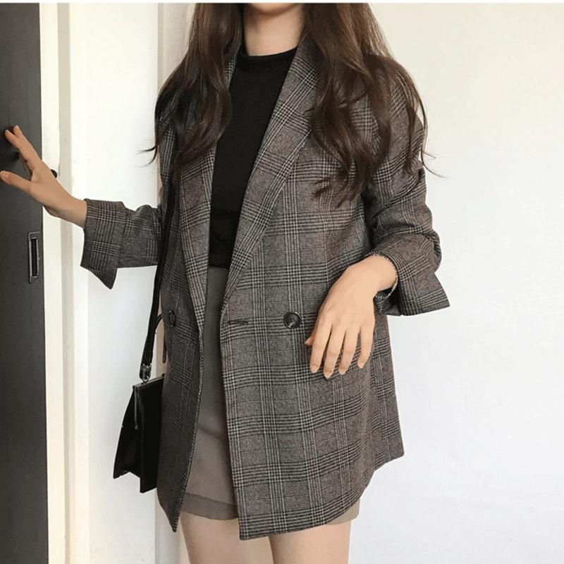 Q9aDH site oficial coreano 2020 casaco no início do outono elegante xadrez duas fileiras de dois botões de comprimento médio terno casaco pequeno para as mulheres