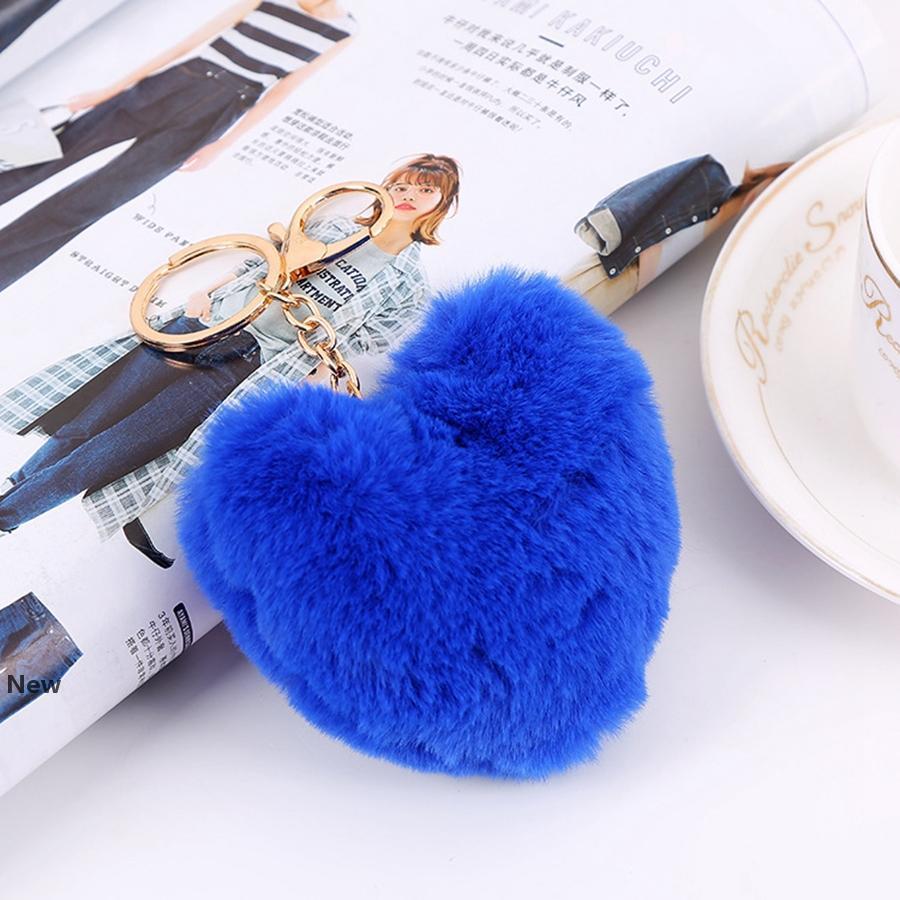 Kalp Topu Pom Anahtarlık Kabarık Sahte Tavşan Kürk Ponpon Anahtarlıklar Kadınlar Çanta kolye Takı Parti Favor RRA2828-4
