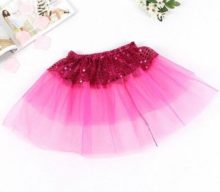 Falda de la danza partido de las muchachas niños de Bling lentejuelas princesa faldas de tul muchacha de los niños Shine Ballet Dancewear niños Short Cake Falda Danza EEA70 sIgJ #