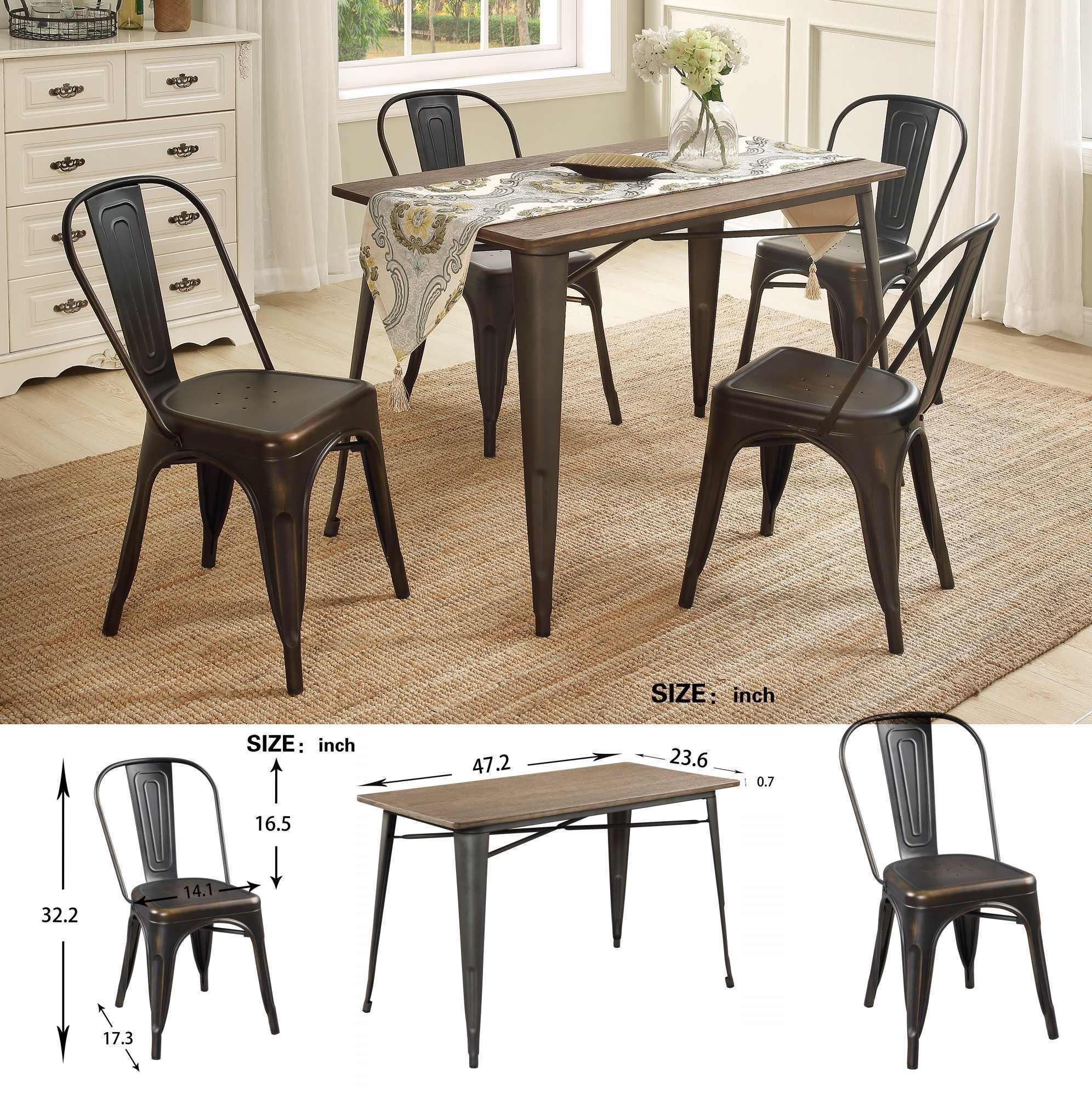 US-Aktien U_STYLE Antique 5-teiliges Metall Esszimmer Set Massivholz-Tisch Stuhl Esszimmermöbel SL000024DAA