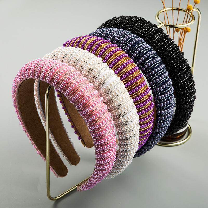 Perlenstickerei Intarsien Frauen Mode-Stirnband-Schwamm-Haar-Band-Band-Bunte-Kopf-Verpackungs Bandeau für Mädchen Damen Frauen 15 5hm C2
