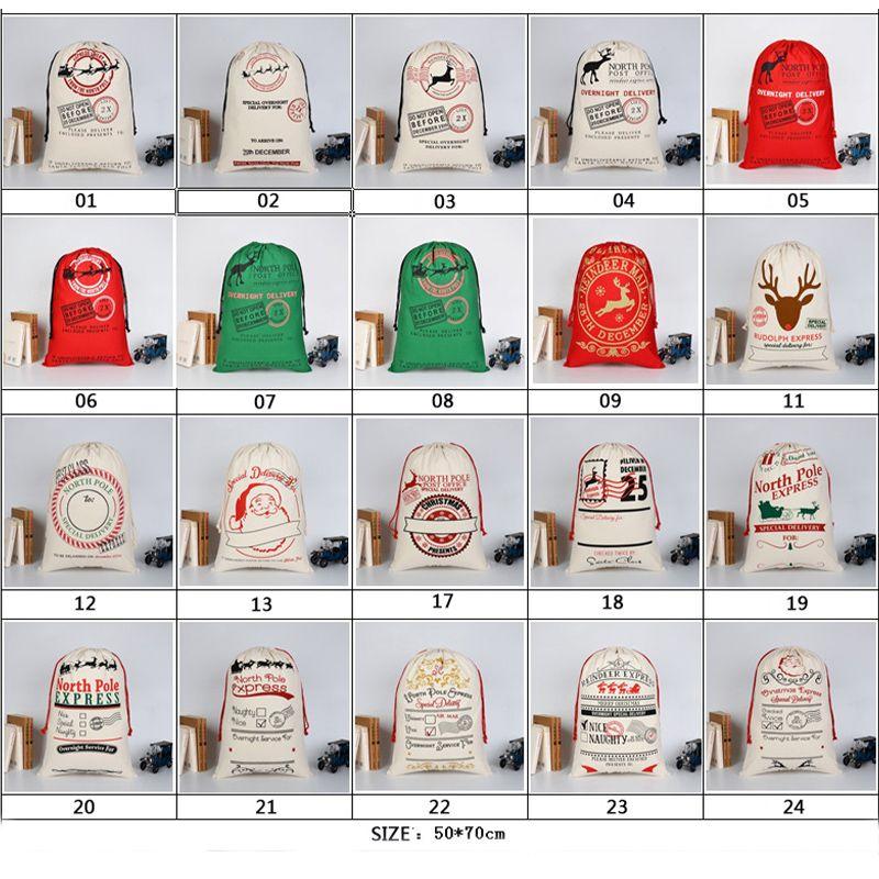 2020 Большой Рождественский подарок сумка Multicolor Свадебные Магазины Чистые сумки хлопок Drawstring для детей Олени Санта Sack