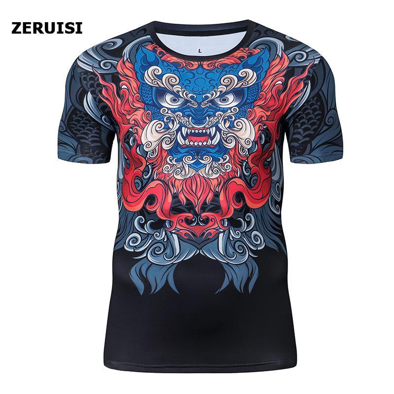Imprimé l'été 3D style chinois compression Shirts Fitness Gym culturisme extérieur entraînement rapide à sec Sport à manches courtes T-shirt