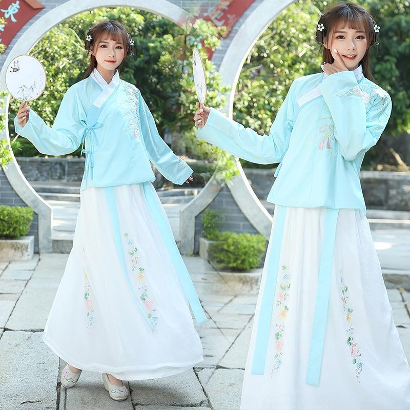 das GxgbJ mulheres estilo étnico Ming-feito Bordados roupas Nacional roupa traje saia forrada de cintura bordado das mulheres diário chinês PyuJm