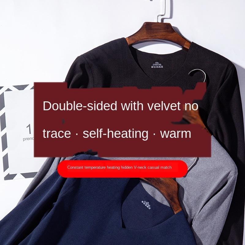 conjunto de forro polar y la ropa interior 1hSQu hFuOH hombres de doble cara rozó ropa interior sin costuras caliente ropa térmica ropa auto-calentamiento de otoño otoño pa