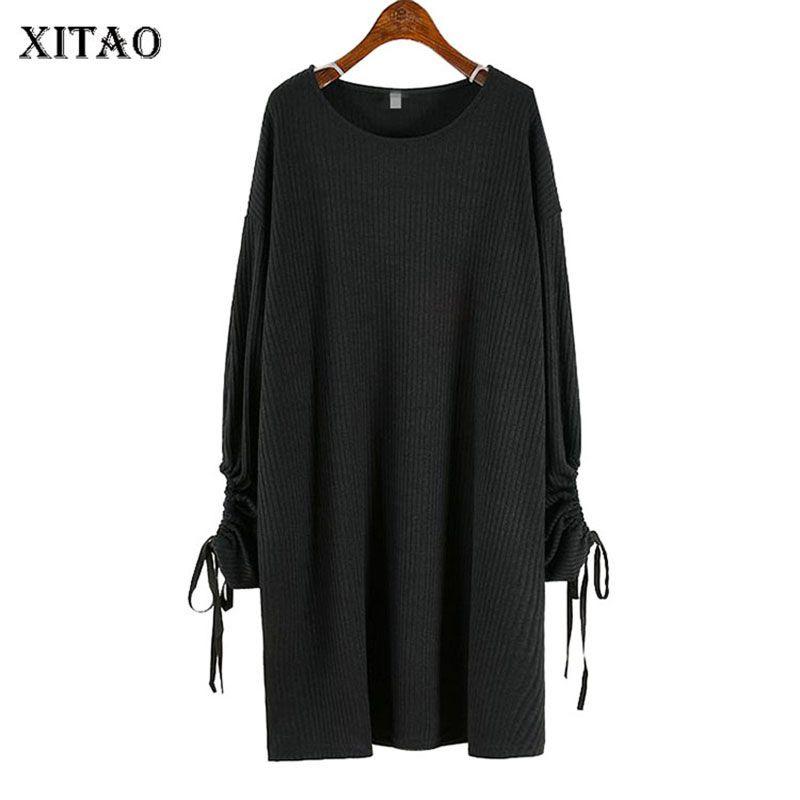 Xitao İpli Bandaj Elbise Kadınlar Plus Size Gevşek Uzun Kollu Bayan Giyim 2020 Sonbahar Yeni Boş Bayanlar Elbise GCC2009