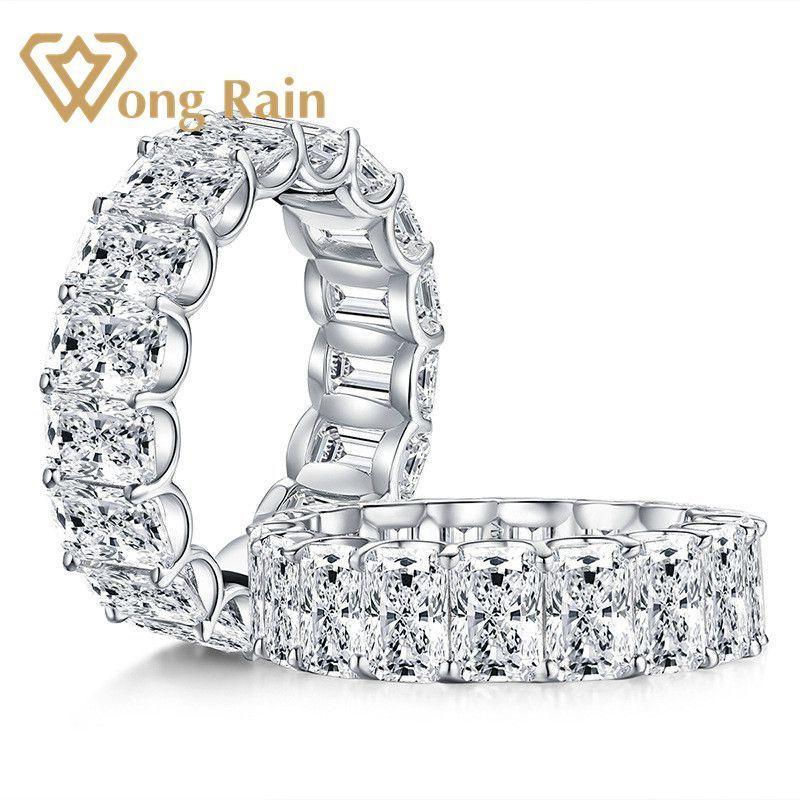 Wong Chuva de Prata 925 Sterling Criado diamantes Moissanite pedras preciosas casamento anel de noivado casamento da faixa Fine Jewelry T200905 Atacado