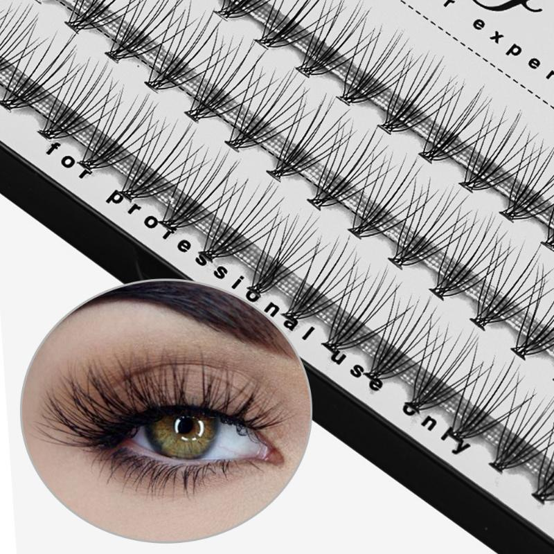 60 Clusters 10D/20D C Curl False Eyelashes Flare Individual Eye Lashes Extension Knot Free Wispy Flare Faux Mink Hair Eye Lashes