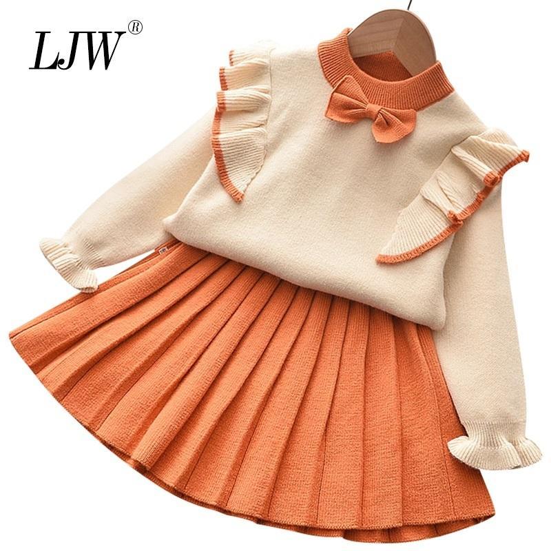 2020 Yeni Sonbahar ve Kış Çocuk Kız Set Örme Kazak Üst + Pileli Etek Kıyafeti Elbise 2 adet Giyim Setleri1-6Y Bebek Kız Giysileri