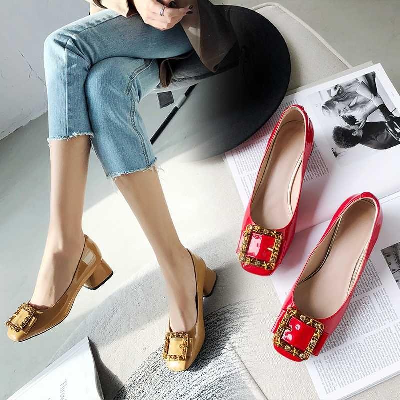plus la taille 34-43 Femmes Chaussures Femmes 3cm talons bas Party Chaussures de mariage talon épais Pompes Casual Lady Chaussures