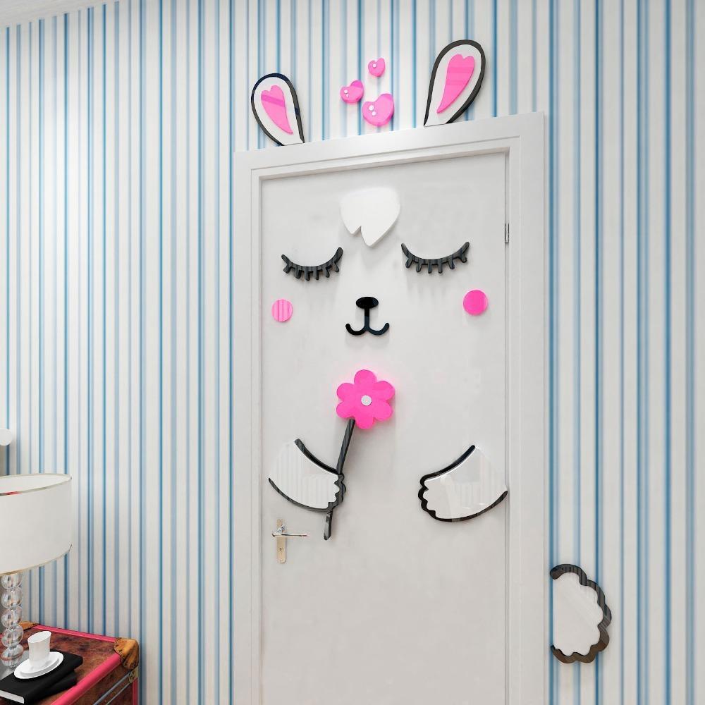 2021 Cartoon Rabbit 3d Door Sticker Girls Bedroom Door Decoration Home Design Cute Wallpaper For Kids Room Diy Door Decal Stickers From Familyflooring 109 55 Dhgate Com