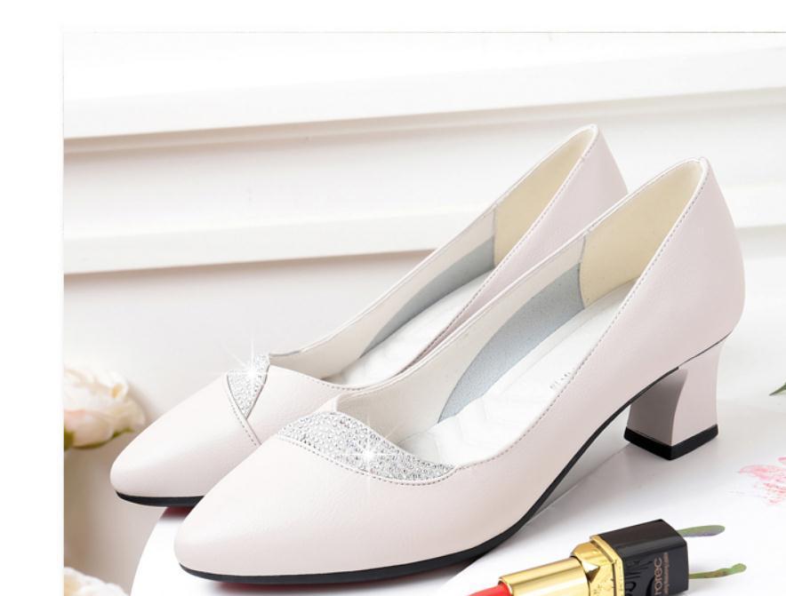 2020 весной и осенью с обувью Новый стиль моды Высокий каблук Грубый пятки круглая голова женщин в @ ZX13